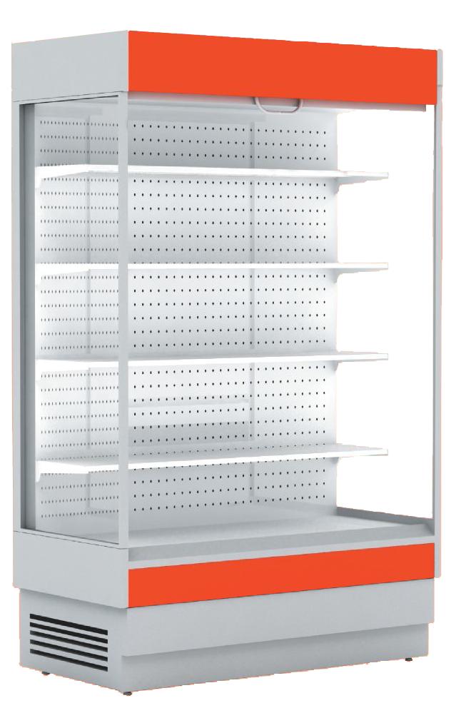 Горка холодильная гастрономическая ALT_N S 1350 (с выпаривателем) Горка с боковинами, красный RAL 3002