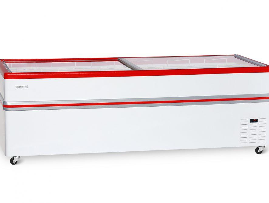 Ларь-бонета Bonvini BF2500 BF-L (колеса, 10 корзин) Серый  с прямым стеклом 1100 л