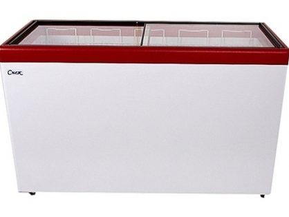 Ларь морозильный Снеж МЛП-500 (колеса, 5 корзины) красный с прямым стеклом 472 л