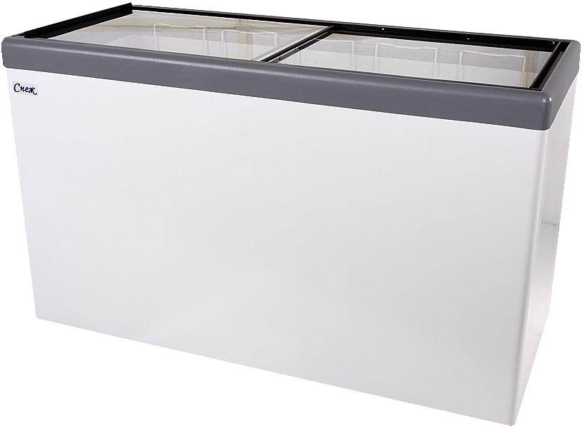 Ларь морозильный Снеж МЛП-500 (колеса, 5 корзины) серый с прямым стеклом 472 л