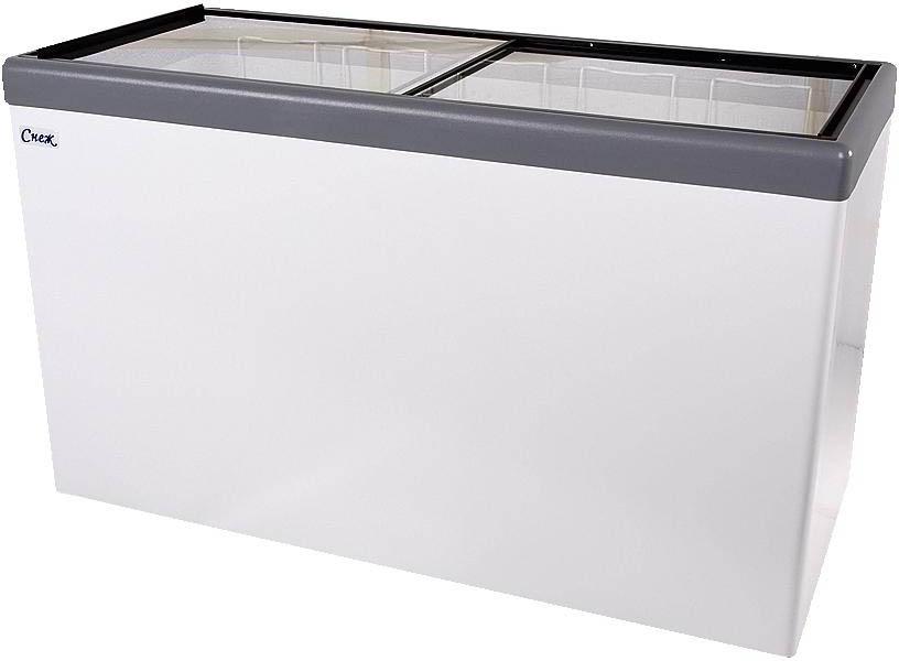 Ларь морозильный Снеж МЛП-700 (колеса, 7 корзины) серый с прямым стеклом 630 л