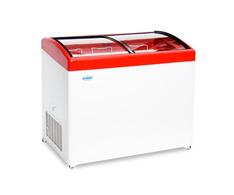 Ларь морозильный Снеж МЛГ-350 (колеса, 3 корзины) красный с гнутым стеклом 315 л