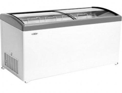 Ларь морозильный Снеж МЛГ-600 (колеса, 6 корзины) серый с гнутым стеклом 551 л