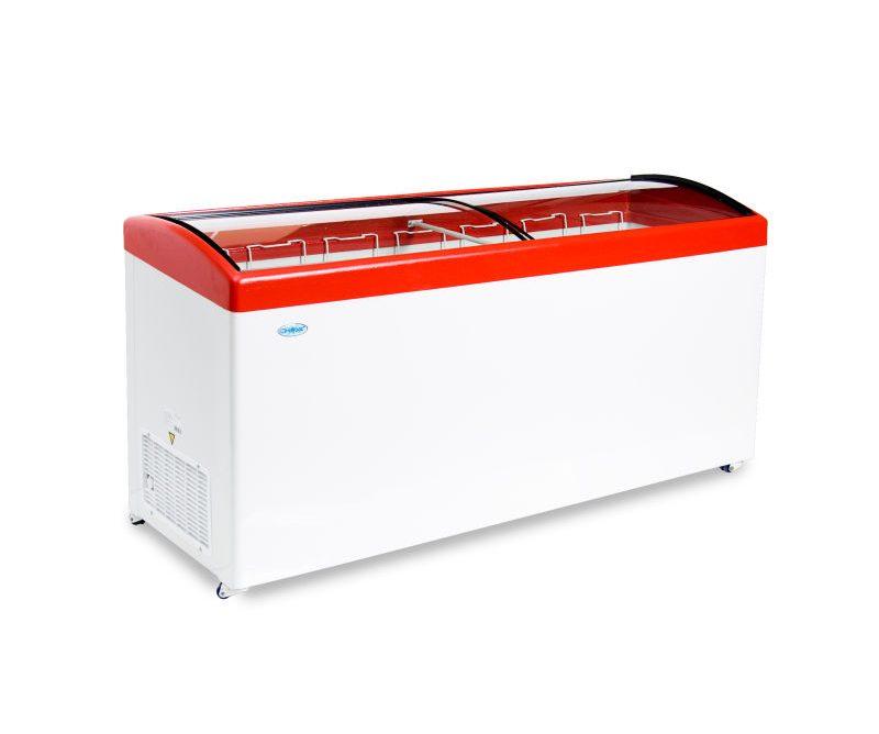 Ларь морозильный Снеж МЛГ-700 (колеса, 7 корзины) красный  с гнутым стеклом 630 л