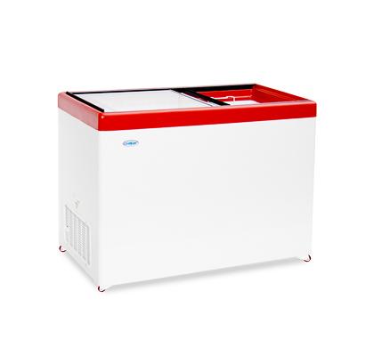 Ларь среднетемпературный Снеж МЛП-400 (колеса, 4 корзины) красный СРЕДНЕТЕМПЕРАТУРНЫЙ с прямым стеклом 393 л