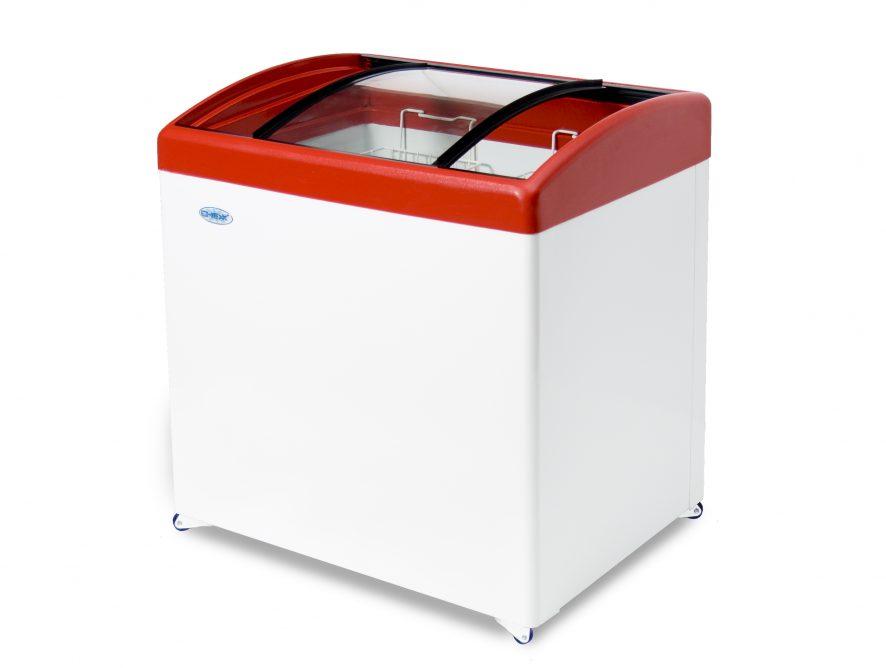 Ларь среднетемпературный Снеж МЛГ-350 (колеса, 3 корзины) красный, среднетемпературный с гнутым стеклом 315 л