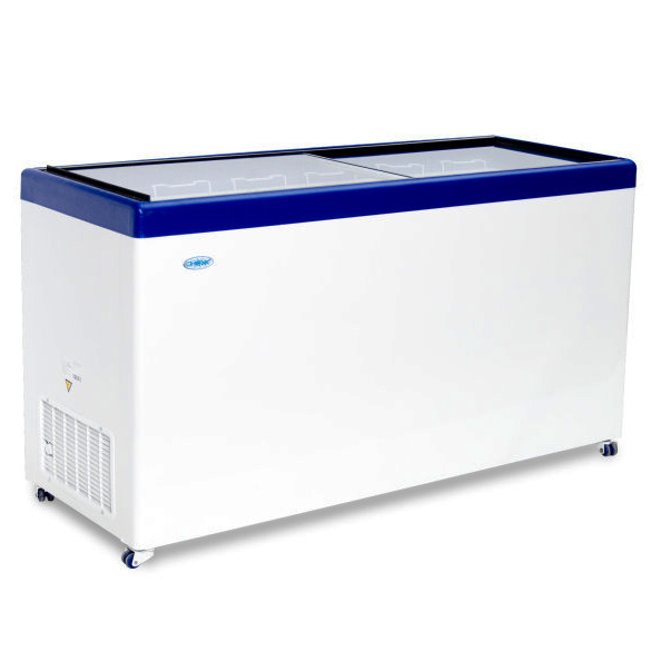 Ларь морозильный Снеж МЛП-250 (колеса, 2 корзины) синий  с прямым стеклом 236 л