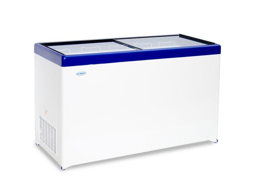 Ларь морозильный Снеж МЛП-500 (колеса, 5 корзины) синий с прямым стеклом 472 л