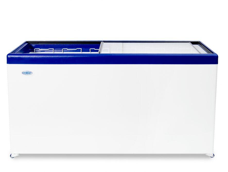 Ларь морозильный Снеж МЛП-600 (колеса, 6 корзины) синий с прямым стеклом 551 л