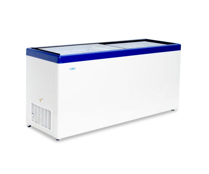 Ларь морозильный Снеж МЛП-700 (колеса, 7 корзины) синий с прямым стеклом 630 л