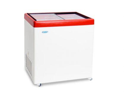 Ларь среднетемпературный Снеж МЛП-250 (колеса, 2 корзины) красный, СРЕДНЕТЕМПЕРАТУРНЫЙ с прямым стеклом 236 л
