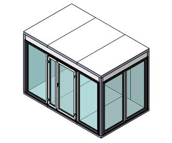 Холодильная камера Polair КХН-2,94 Ст (1360х1360х2200) 80 мм, стеклянный блок по двум сторонам, дверь стеклянная двухстворчатая по стороне 1360 м