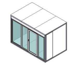 Холодильная камера Polair КХН-4,41 Ст (1360х1360х2200) 80 мм, стеклянный блок с одностворчатой дверью по стороне 1960 м