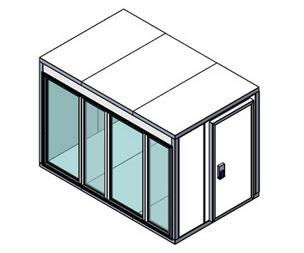 Холодильная камера Polair КХН-7,71 Ст (2260х1960х2200) 80 мм, стеклянный блок по стороны 2260 м, дверь универсальная по смежной стороне