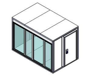 Холодильная камера Polair КХН-8,81 Ст (2260х1960х2200) 80 мм, стеклянный блок по стороне 2560 м, дверь универсальная по смежной стороне