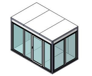 Холодильная камера Polair КХН-8,81 Ст (2560х1960х2200) 80 мм, стеклянный блок по двум смежным сторонам, дверь стеклянная одностворчатая по стороне 2560 м